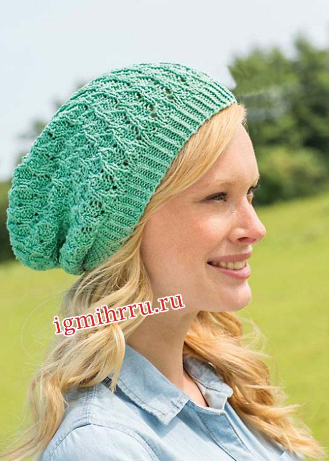 Летняя зеленая шапочка с дырочками. Вязание спицами