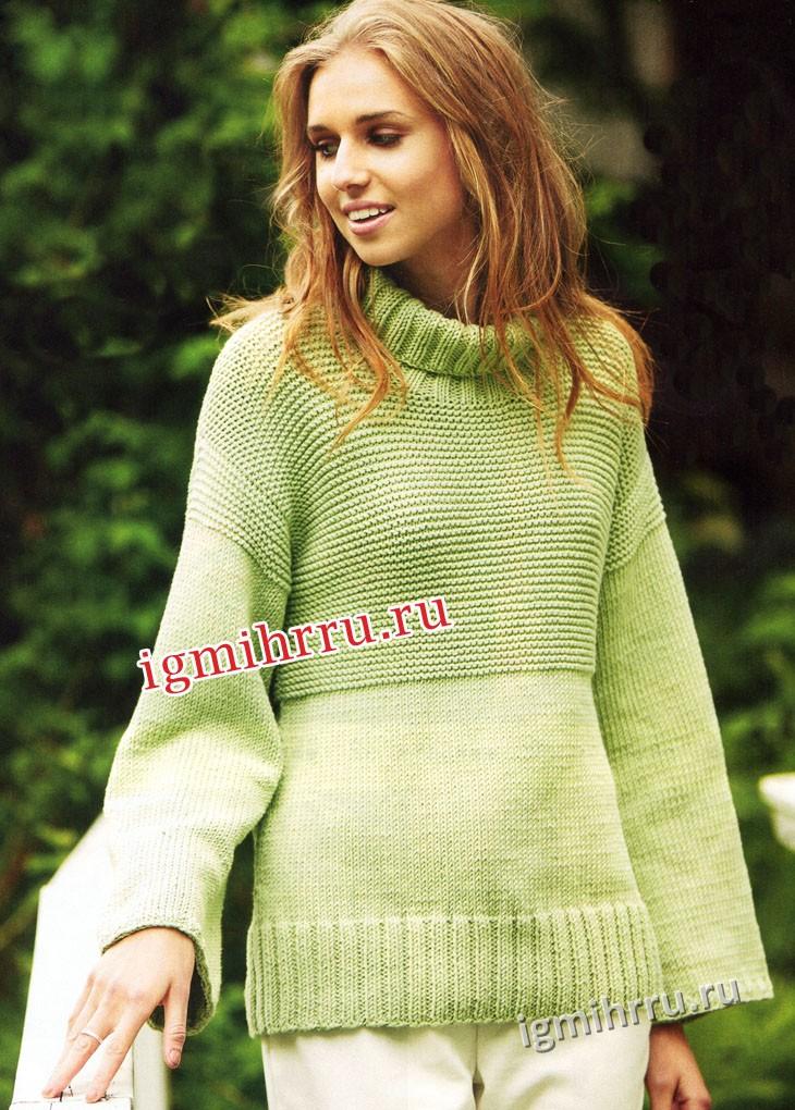 Пуловер салатового цвета с воротником гольф. Вязание спицами