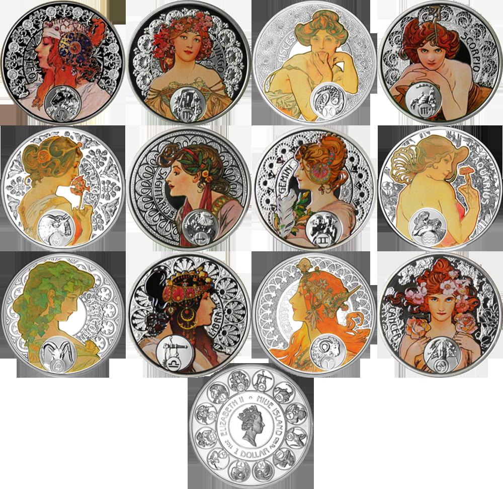 Серия монет «А. Муха — Знаки Зодиака»