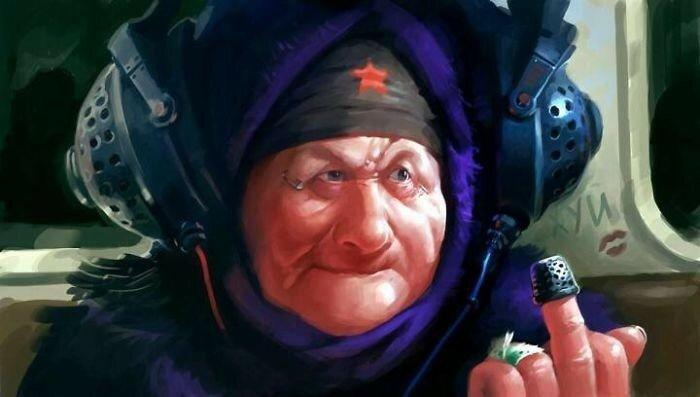 Крутая русская бабка! Иллюстратор Эдвард Набуиллин