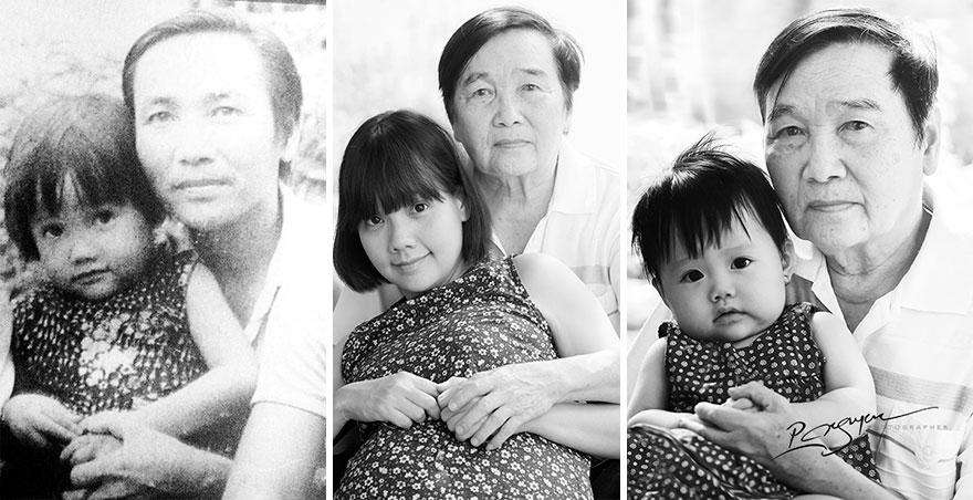 «Незабываемые воспоминания — ее мать держала ее на коленях, а позже она держала свою внучку».