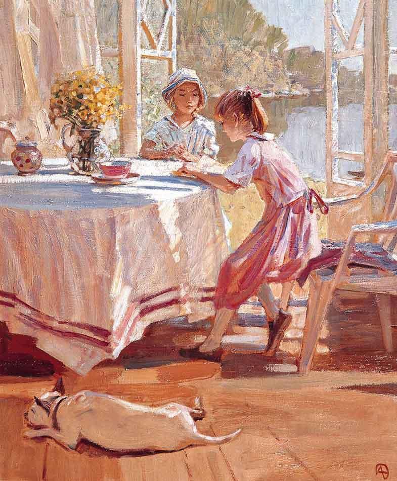 Alexander Tioutrine неизвестно В полдень на летней веранде девочки читают