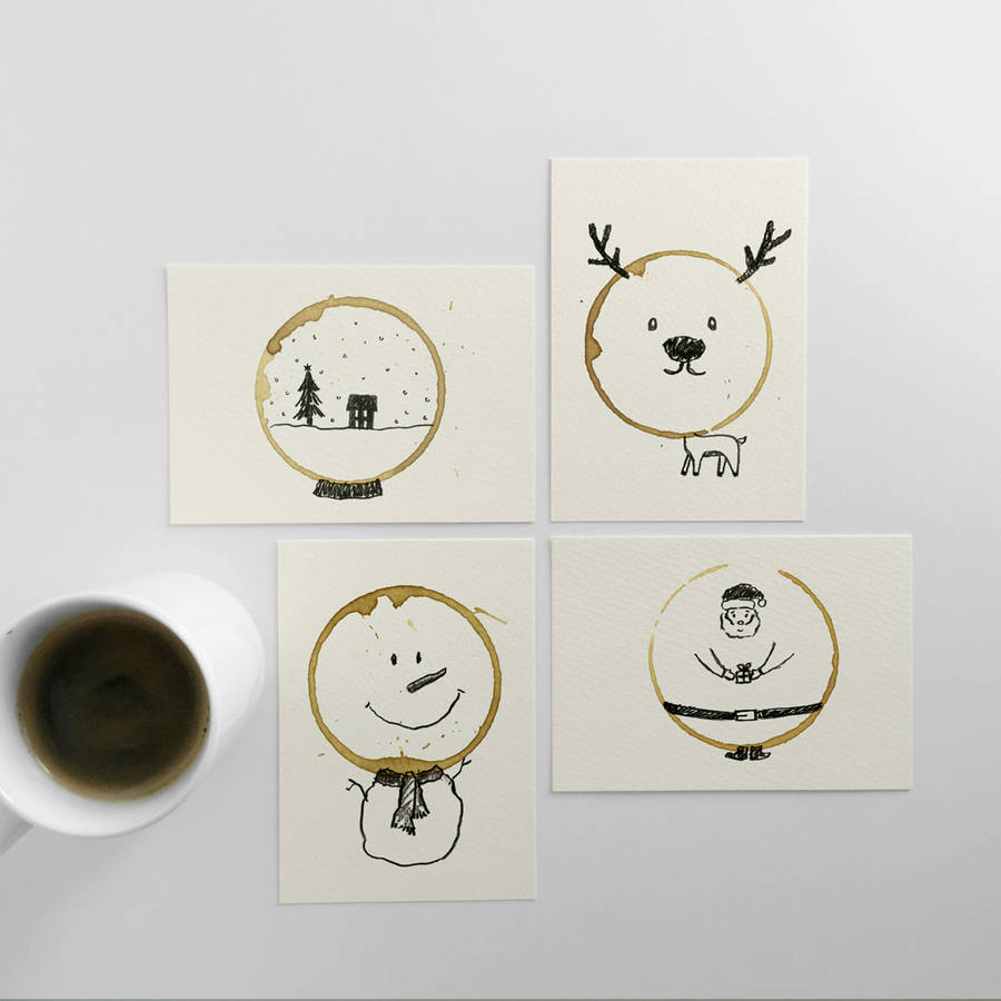 Coffee Stains Postcards for Christmas (6 pics)