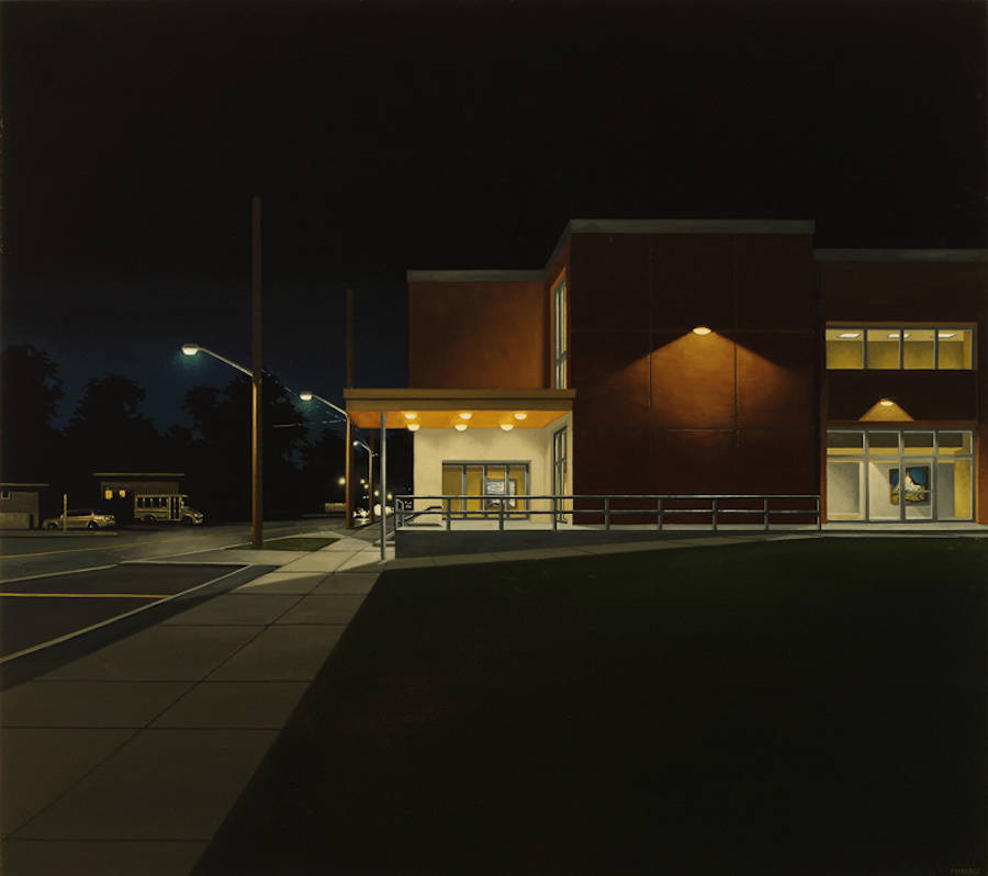 Tribute to Edward Hopper through Paintings of Buildings at Night