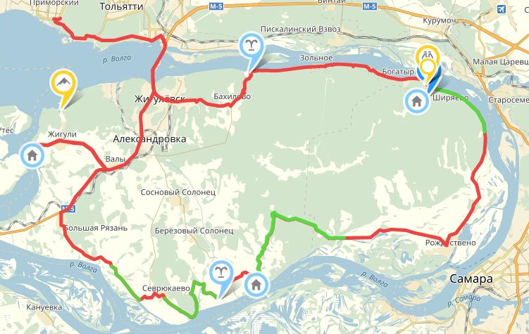 Схема маршрута Тольяттинской велосипедной кругосветки по Самарской луке