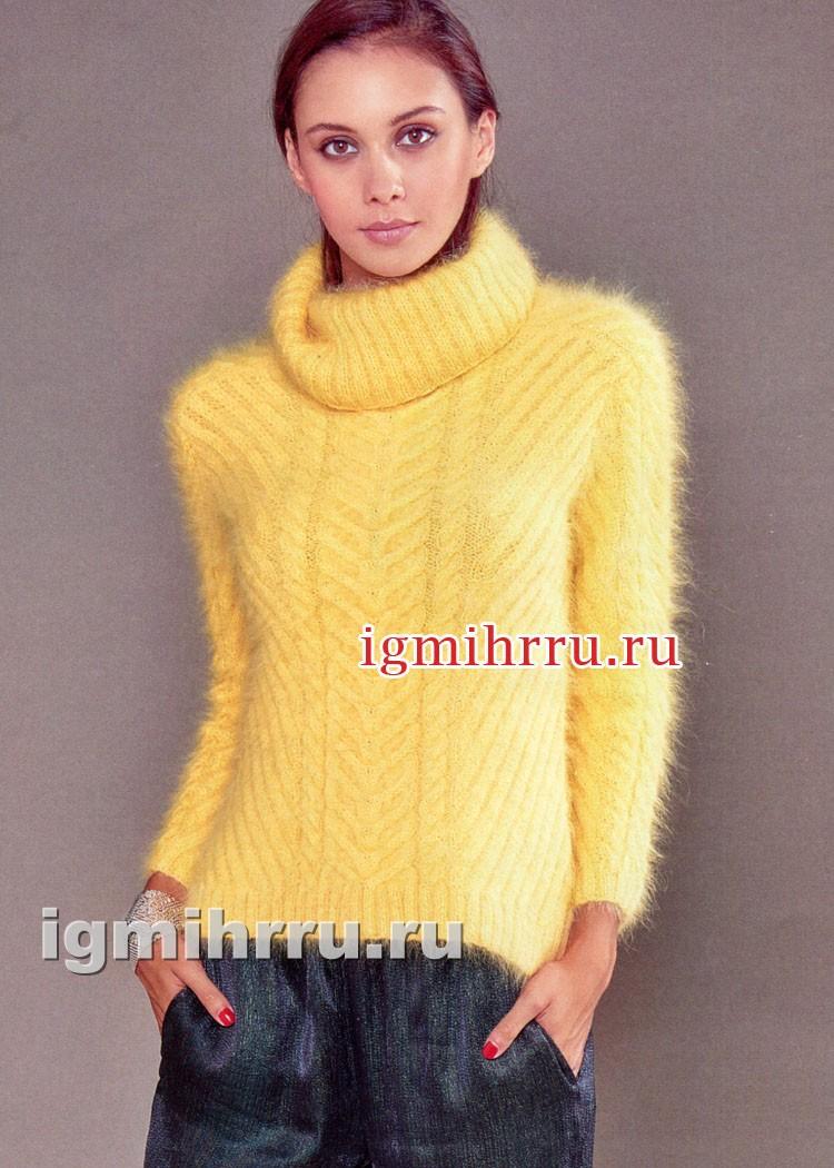 Мягкий пушистый свитер желтого цвета. Вязание спицами