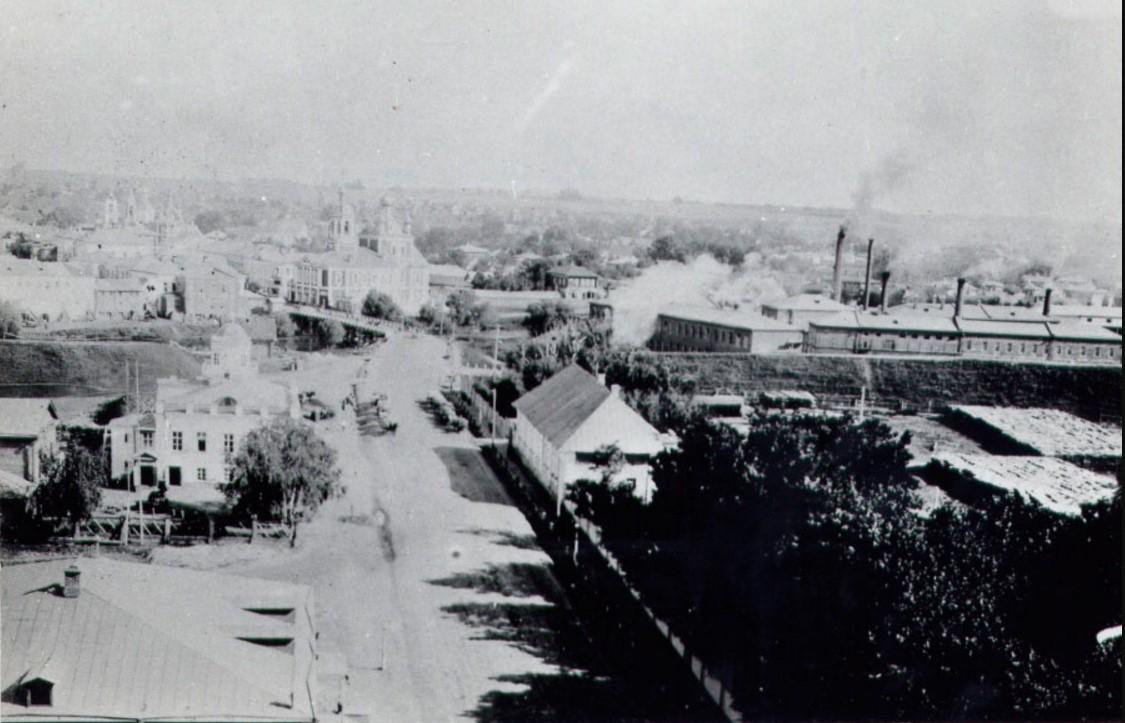 Вид на городской центр с колокольни Владимирского собора (упразднённого Новодевичьего монастыря), 1890-е.
