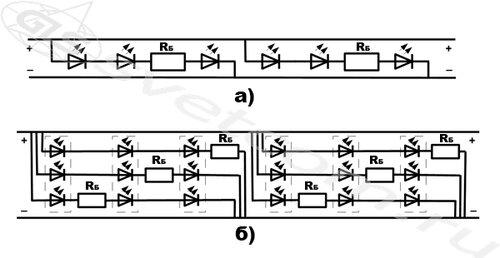 схемы светодиодной ленты