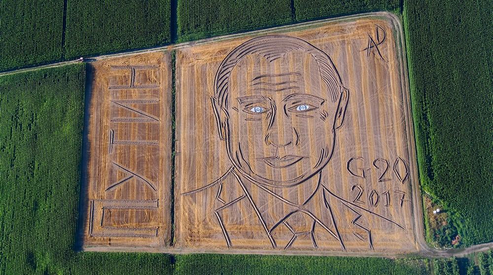 Итальянский фермер превратил поле в огромный портрет Путина