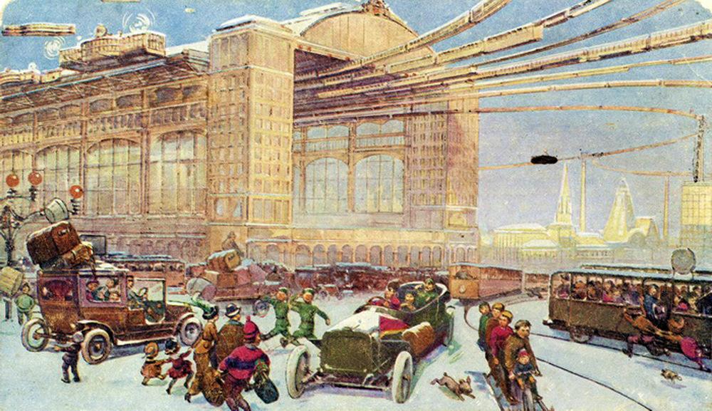 Москва в 23-м веке, какой её представляли художники в 1914 году (7 фото)