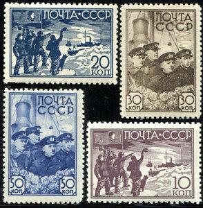 1938 г. Снятие со льдины полярников научной дрейф. станции Северный полюс-1