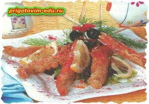 Темпура с креветками и болгарским перцем