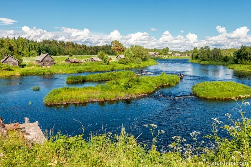 Река Пяльма и панорама Заречья, Карелия