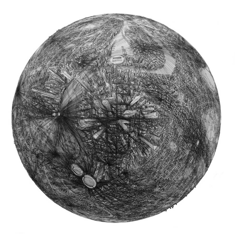 Illustrations of Detailed Cities On Globes
