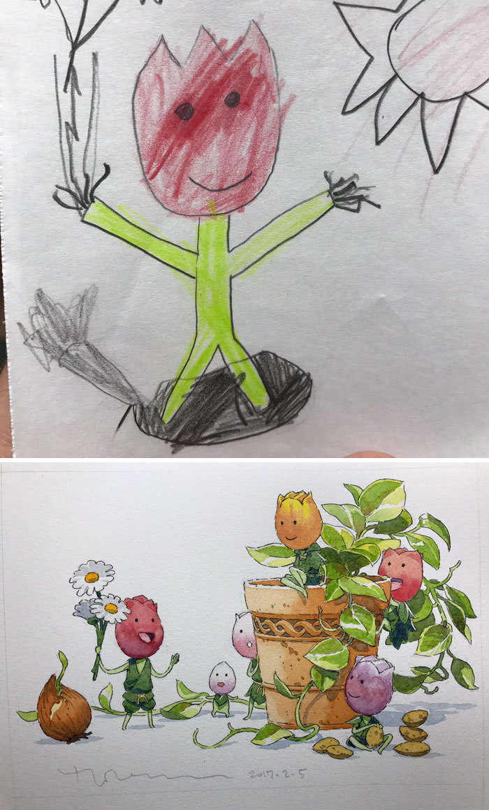 Pai transforma os desenhos de seus filhos em anime (3 pics)