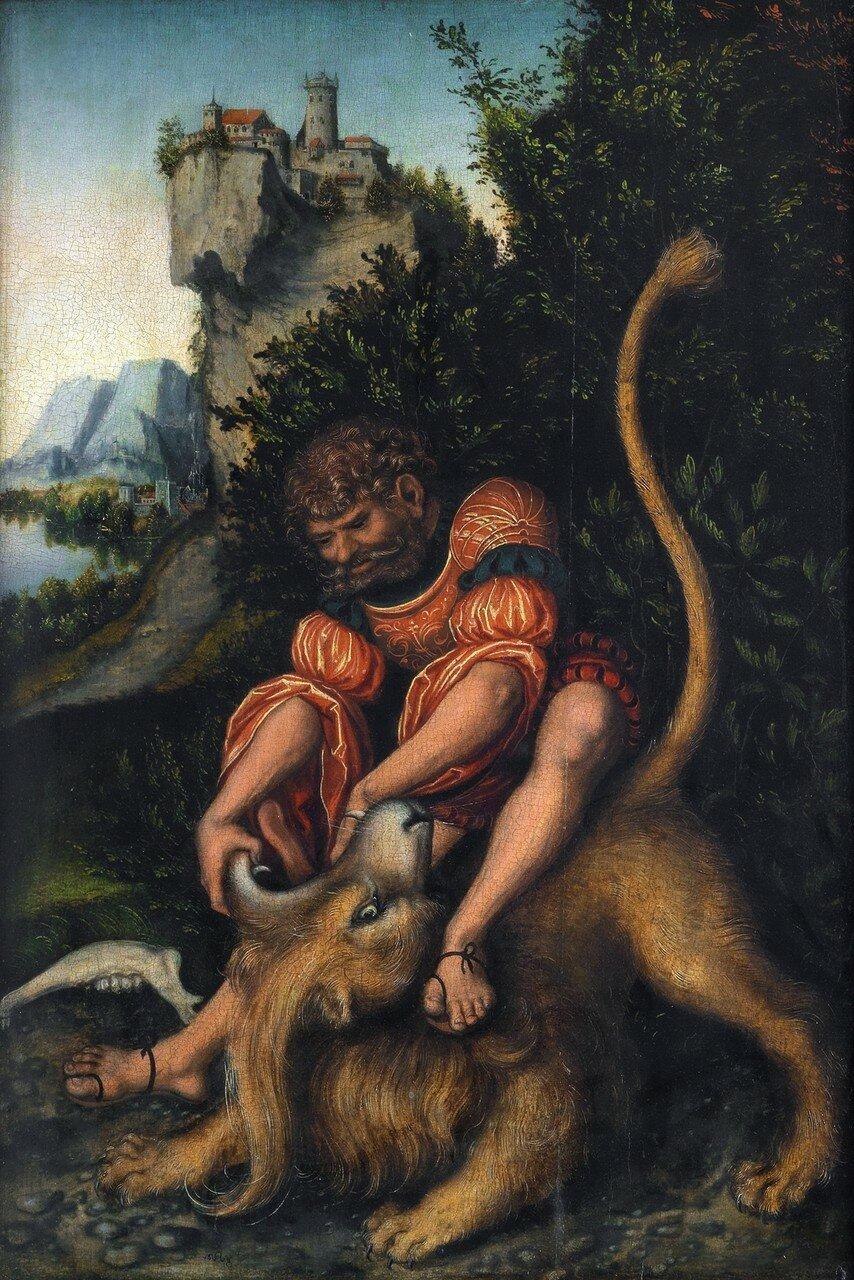 Самсон, борющийся со львом (Samson battling with the lion)_1520-1525_56.7 х 38_д.,м._Веймар, Замок-музей.jpg