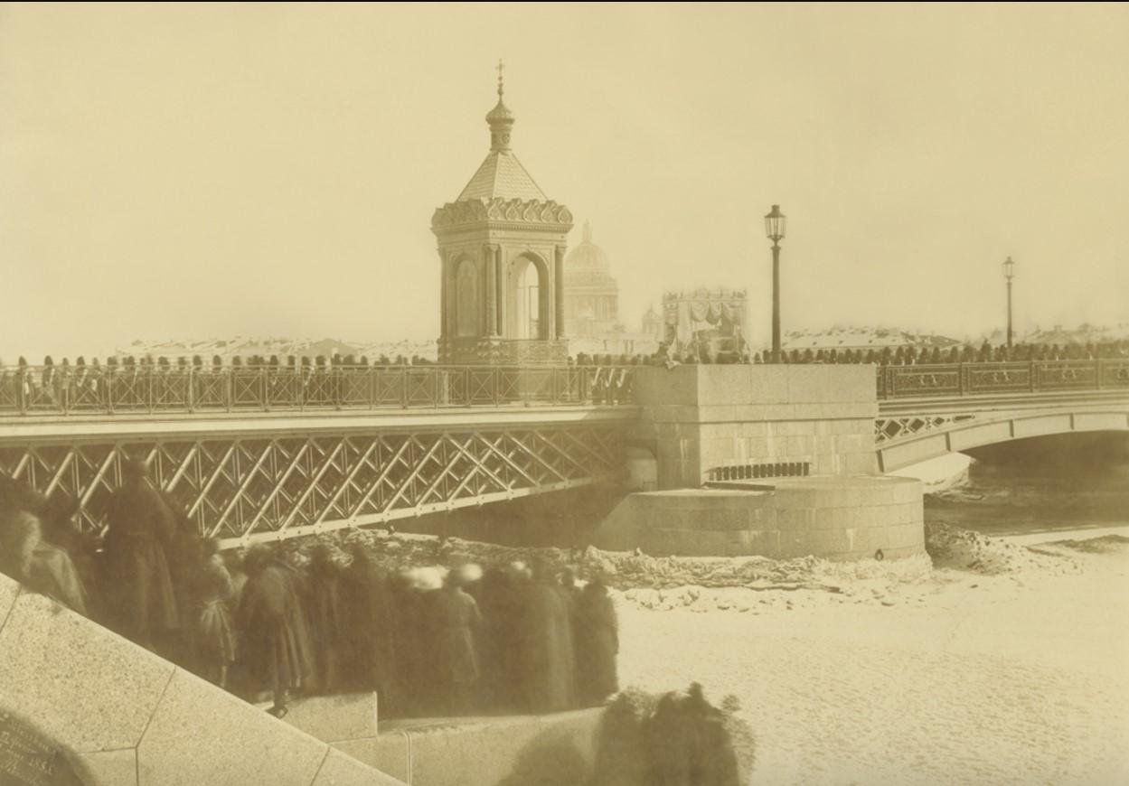 1855. Похоронная процессия Императора Николая I на Благовещенском мосту.  27 февраля