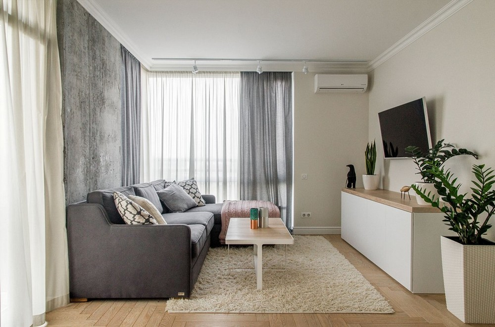 """50 shades of gray"" in the interior of an apartment in Kiev"