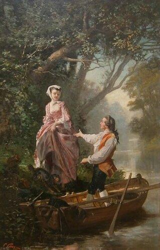 Prudent Louis Leray (French, 1820 - 1879)   Элегантная дама в лодке
