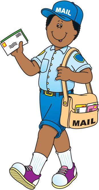 Открытки. День Почты! Почтальон с письмами