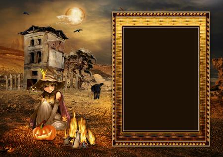 Рамка для фото с сидящей у костра ведьмочкой с тыквой рядом с заброшенным домом и черным волком