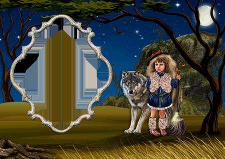 Рамка для фото с девочкой-ведьмой с метлой в руке и серым волком в ночном лесу
