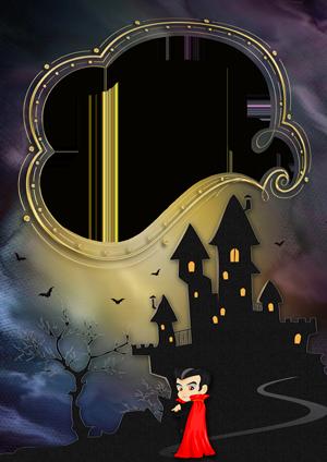 Рамка для фото с вампиром у ночного замка
