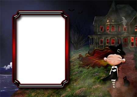 Рамка для фото с ведьмочкой, стоящей на холме у моря, рядом с заброшенным домом с привидениями