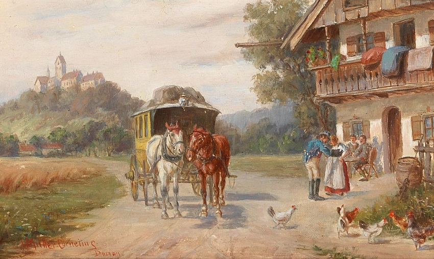 The Post Coach Stops, monastery in the background