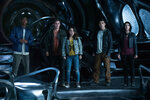 """From L to R: RJ Cyler as """"Billy,"""" Dacre Montgomery as """"Jason,"""" Becky G as """"Trini,"""" Ludi Lin as """"Zack"""" and Naomi Scott as """"Kimberly"""" in SABAN'S POWER RANGERS. Photo by Kimberly French."""
