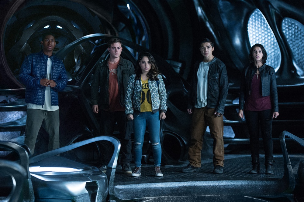 "From L to R: RJ Cyler as ""Billy,"" Dacre Montgomery as ""Jason,"" Becky G as ""Trini,"" Ludi Lin as ""Zack"" and Naomi Scott as ""Kimberly"" in SABAN'S POWER RANGERS. Photo by Kimberly French."