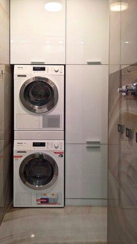 техническая комната, стиральная и сушильные машины, шкаф для моющих средств