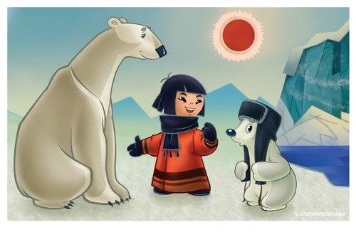 Открытки. С Днем полярника! Малыш с белыми медведями!