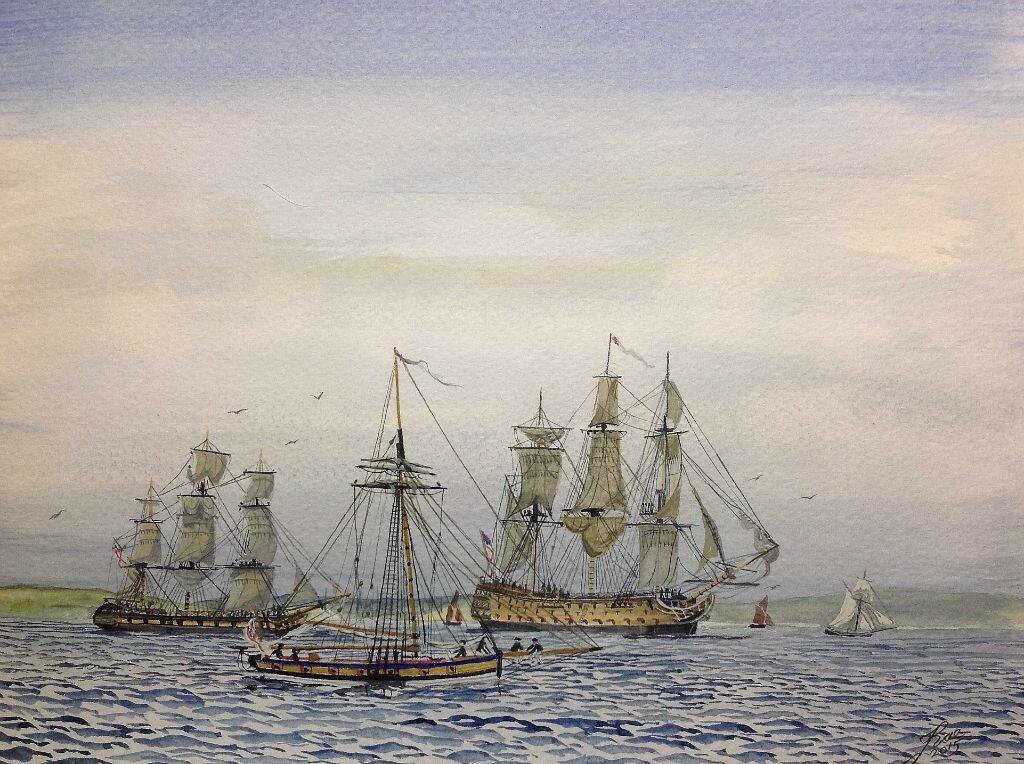 Warships Off Plymouth Hoe, early 1800s.