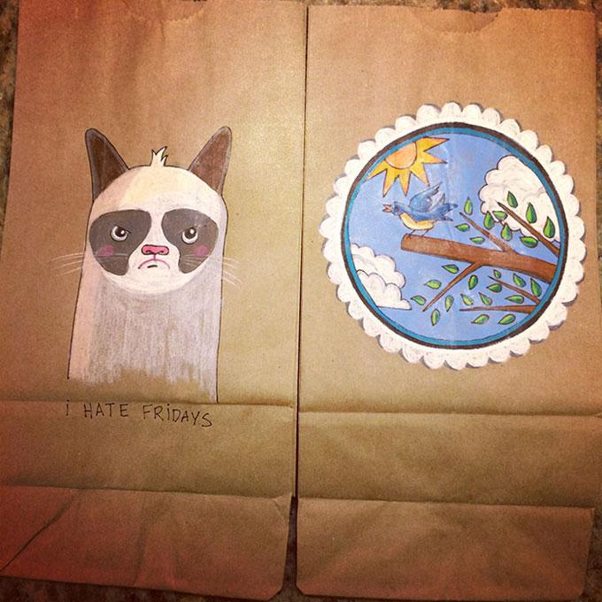 Mae cria arte em sacos de pao