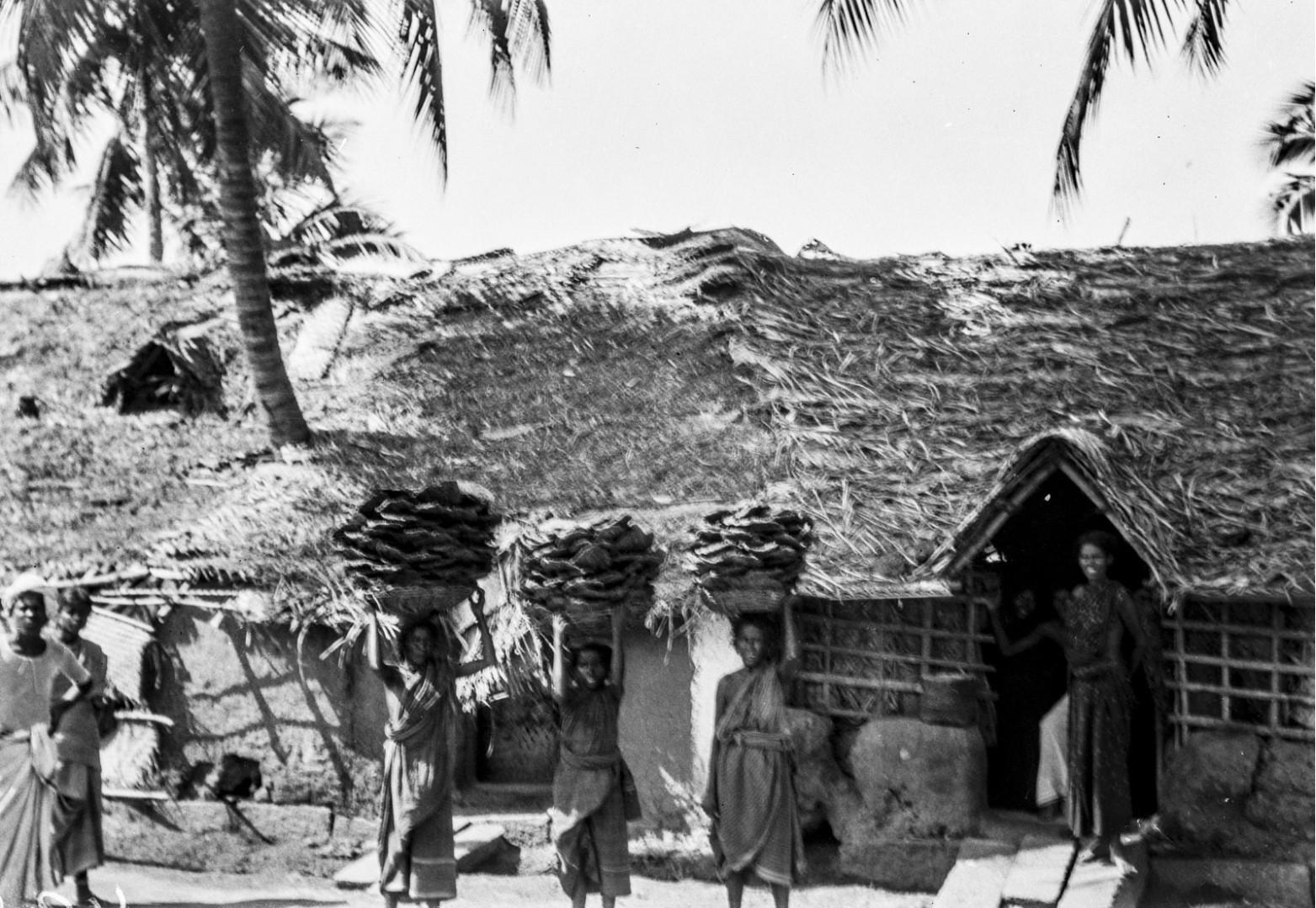 443. Мадурай. Женщины несут на головах в корзинах высушенный коровий навоз