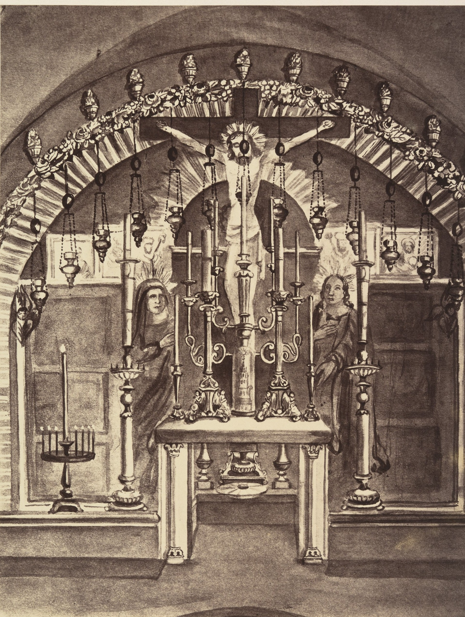 XII станция. Смерть на кресте. Место, где стоял крест, отмечено серебряным диском под алтарем