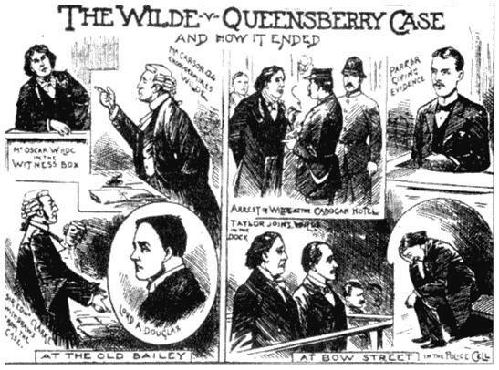 Уголовный процесс Оскара Уайльда. Рисунок из журнала Иллюстрированные полицейские новости, 1895.jpg