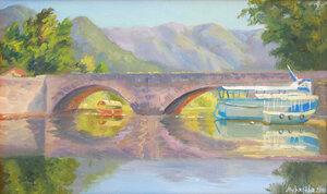«Мост в Вирпазаре. Скадарское озеро. Черногория». Холст на картоне, масло 33х21.jpg