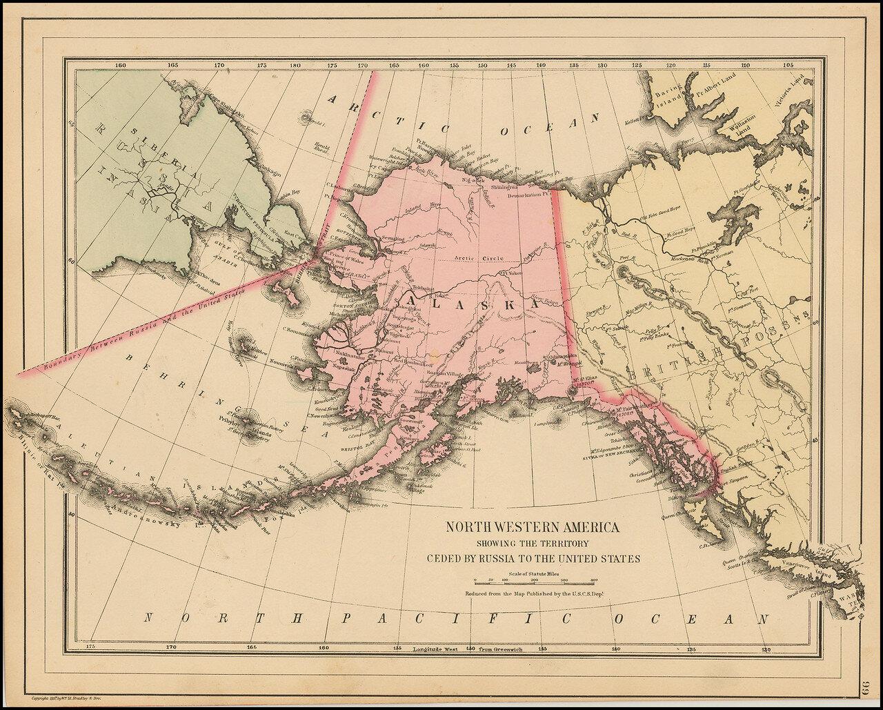 Сэмюэл Август Митчелл младший   Северная Америка, показывающая территорию, уступленную Россией в США.jpg
