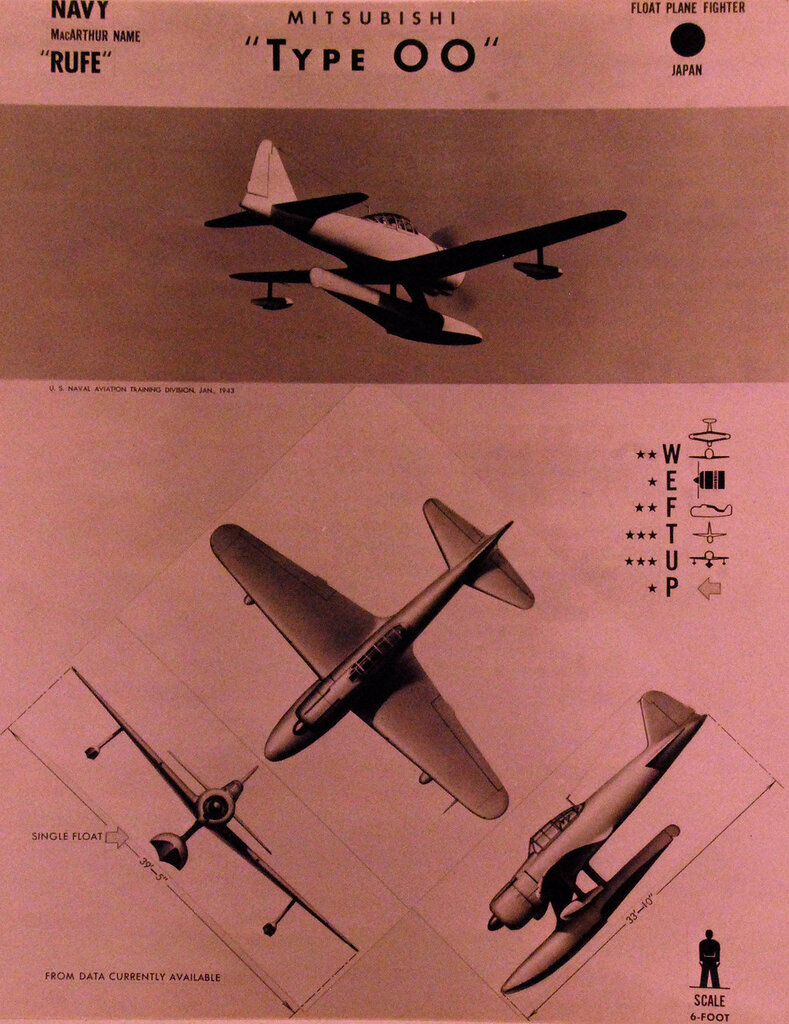 """Recognition drawing Japanese fighter Mitsubishi """"Rufe"""" Type 0, Mark I, Navy Float-Plane. October 23, 1943."""