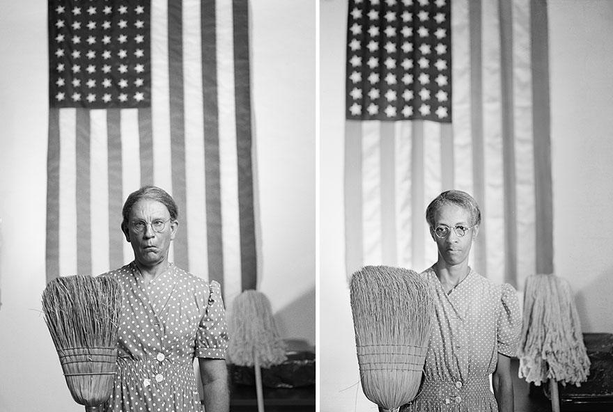 7. Сандро Миллер, Гордон Паркс / Американская готика, Вашингтон, округ Колумбия (1942), 2014