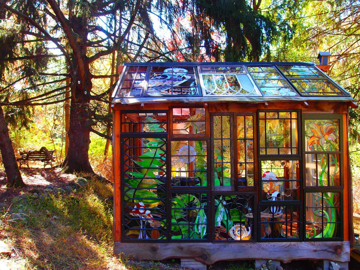 A Stained Glass Cabin Hidden in the Woods by Neile Cooper