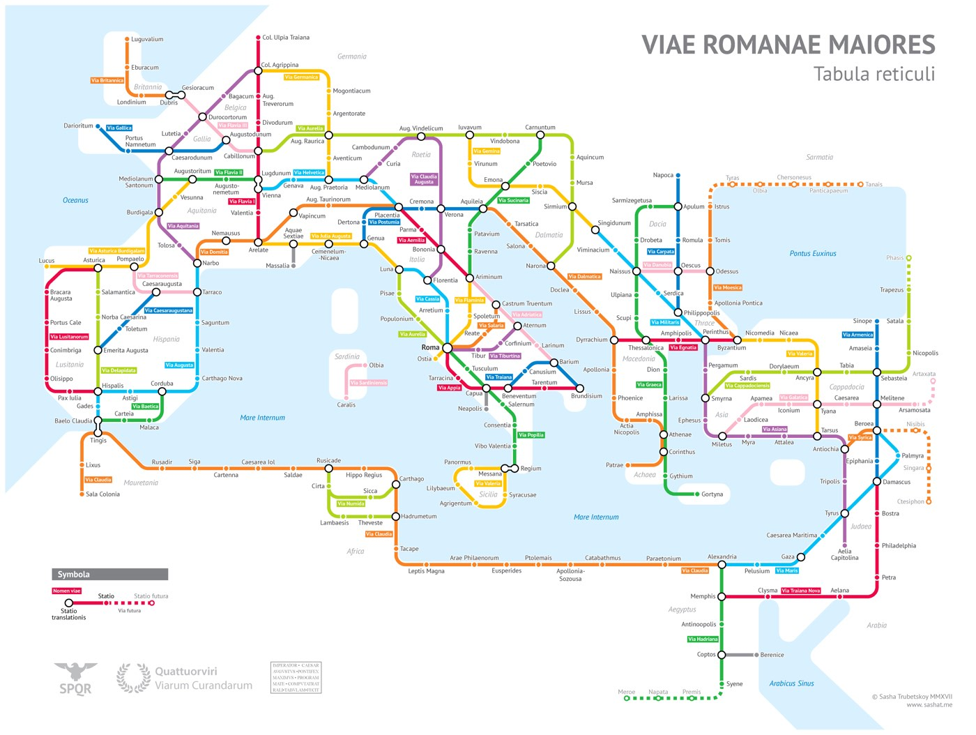 The Roman Empire's 250,000 Miles of Roadways Imagined as a Subway Transit Map (3 pics)