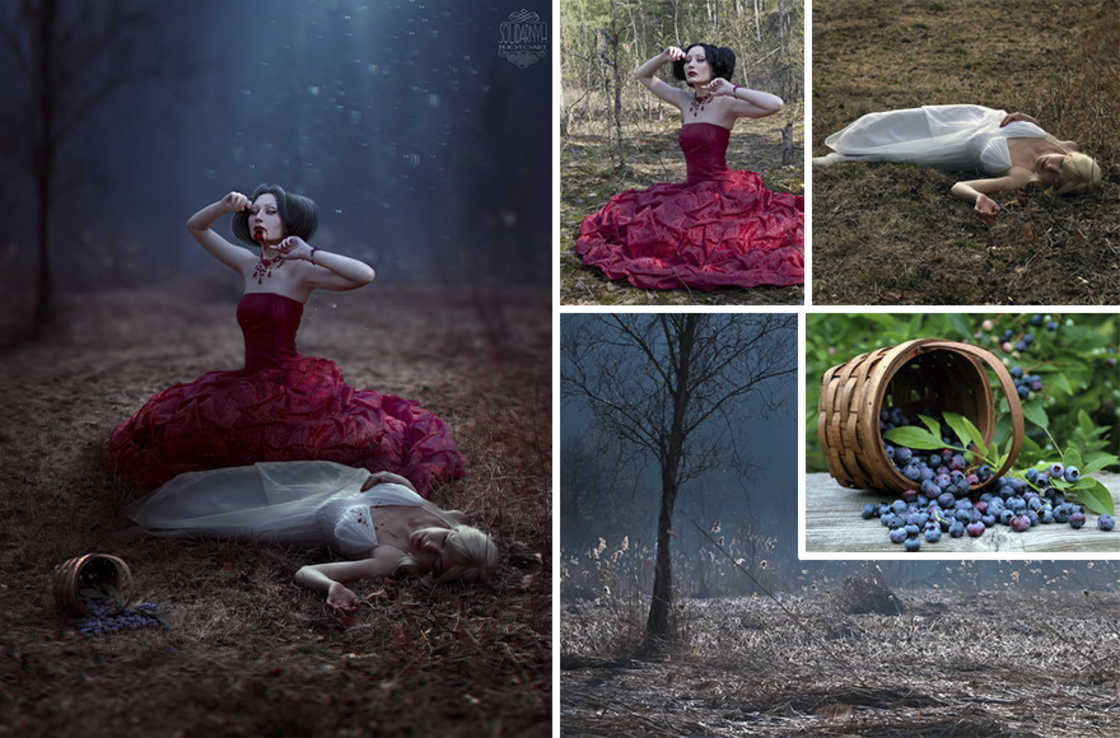 An artist reveals the images used to compose her surreal creations