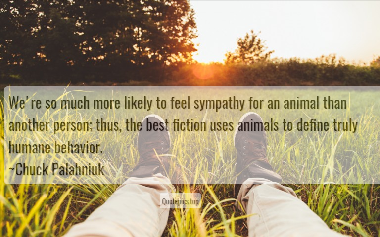 We're so much more likely to feel sympathy for an animal than another person; thus, the best fiction uses animals to define truly humane behavior. ~Chuck Palahniuk