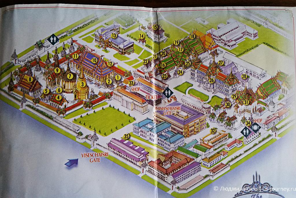 карта королевского дворца в бангкоке