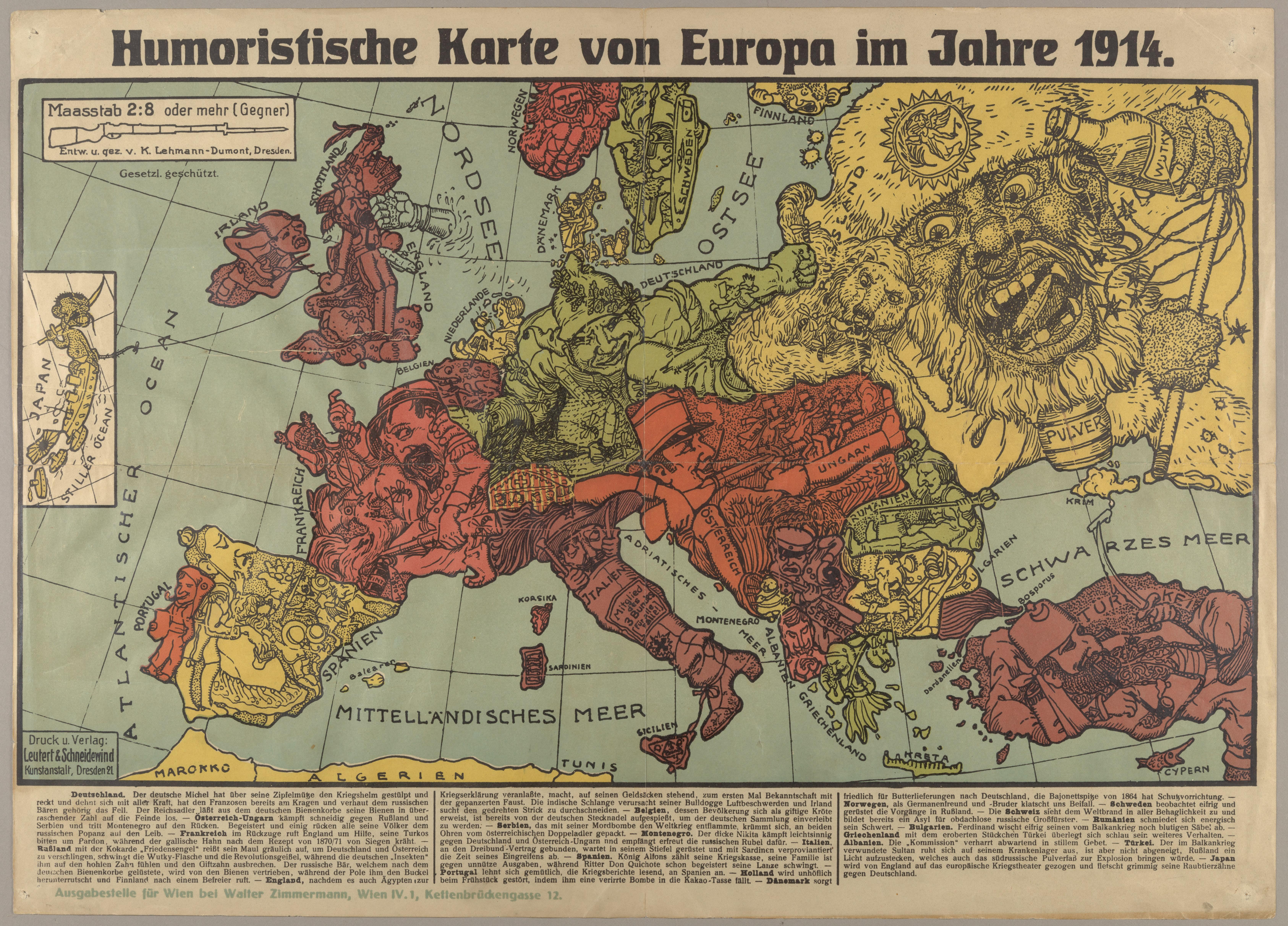 Юмористическая карта Европы. Эта «юмористический карта» изображает Германию как невинного хорошего парня, которого со всех сторон окружают порочные и жадные соседи. 1914