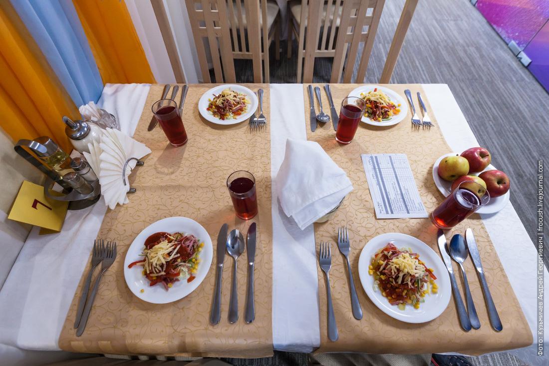 ресторан теплохода Русь Великая питание