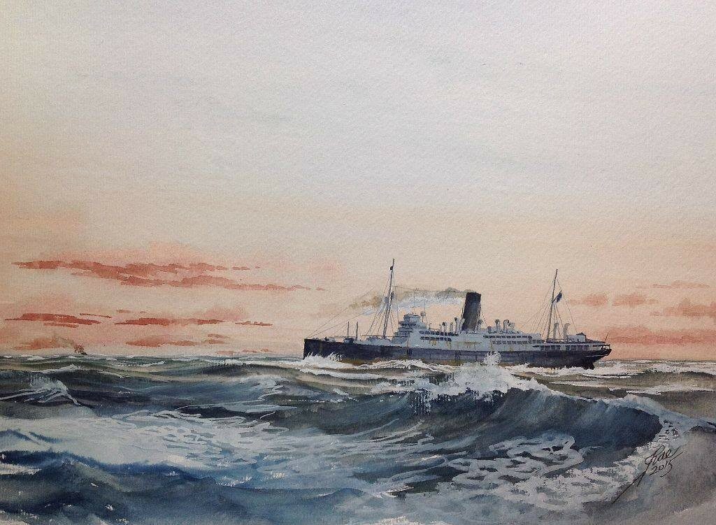 Armed Merchant Cruiser Carinthia on the Northern Patrol 1940 she was Torpedoed west of Galway Bay by U 46 at 13-13 on the sixth of June 1940.